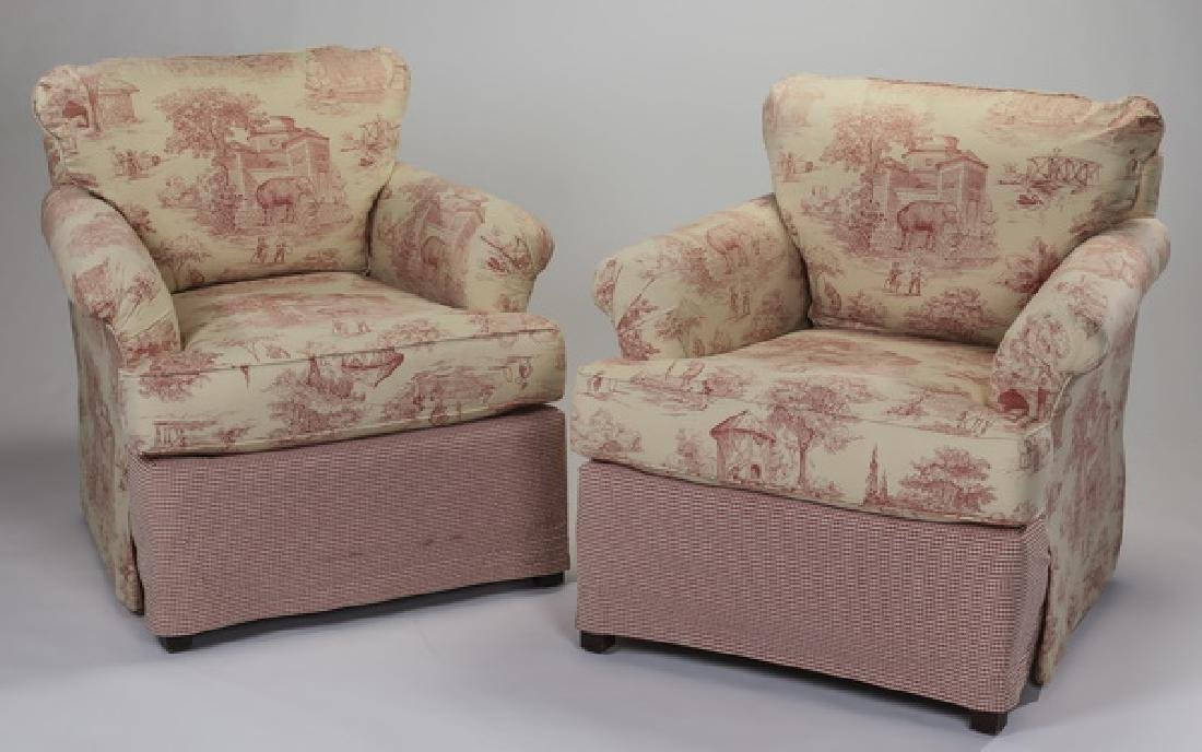 "(2) Miles Talbott toile upholstered club chairs, 31""h"