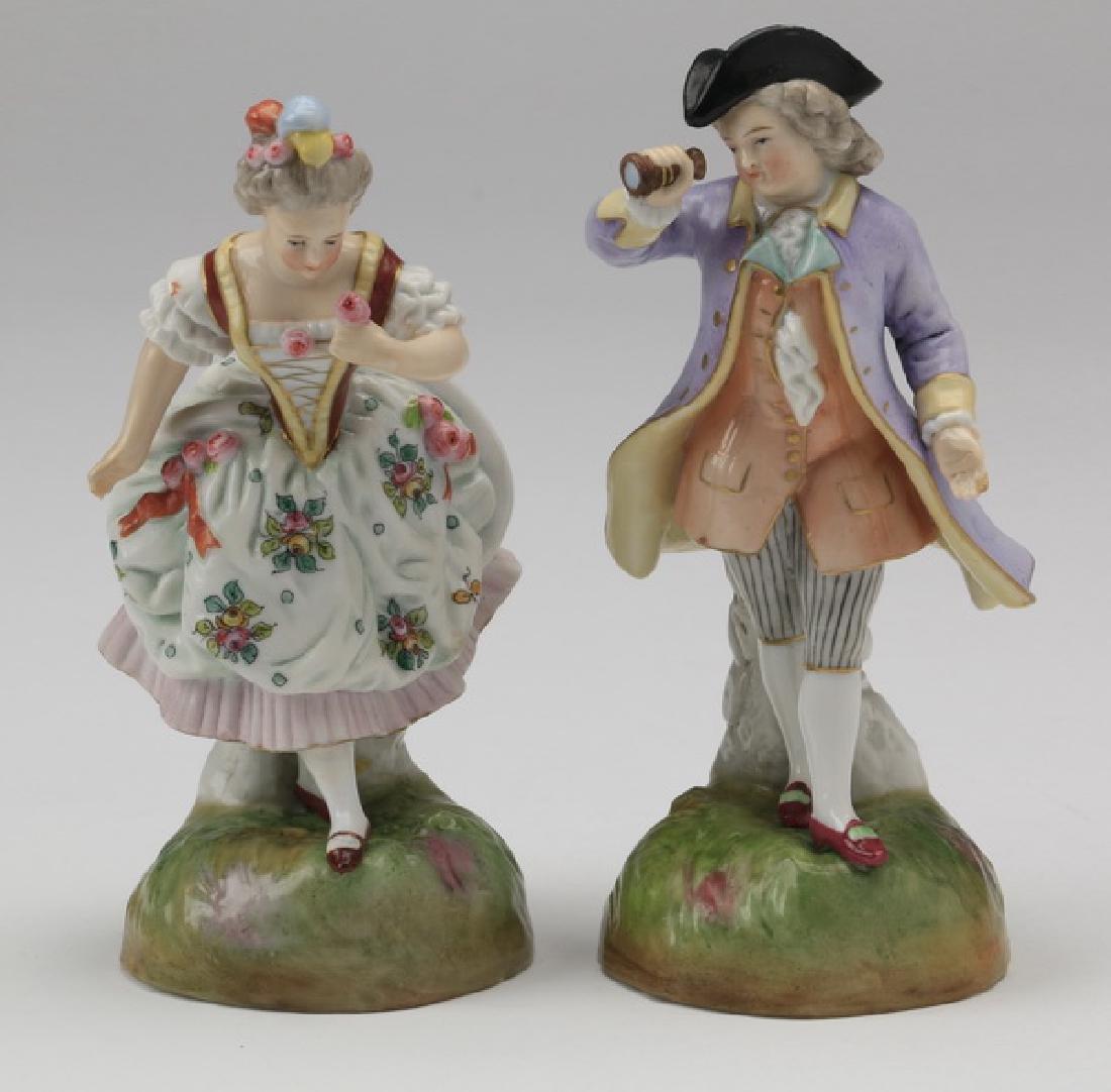 "(2) Meissen-style porcelain figurines, 6""h"