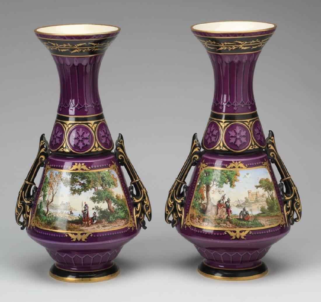 """(2) Sarreguemines hand decorated vases, 20""""h"""