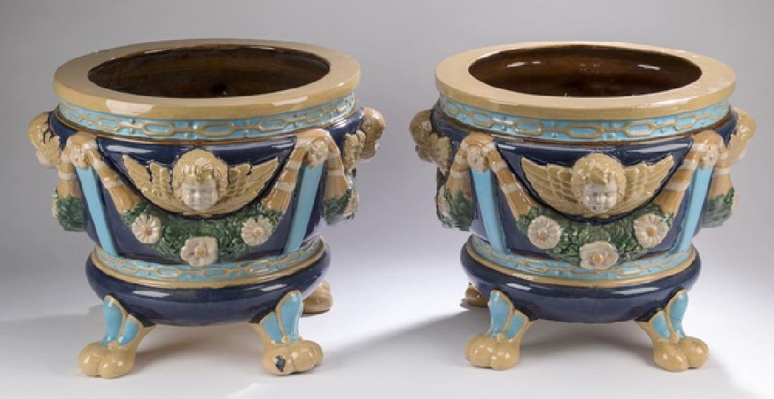 "(2) Majolica jardinieres in the style of Minton, 16""h"
