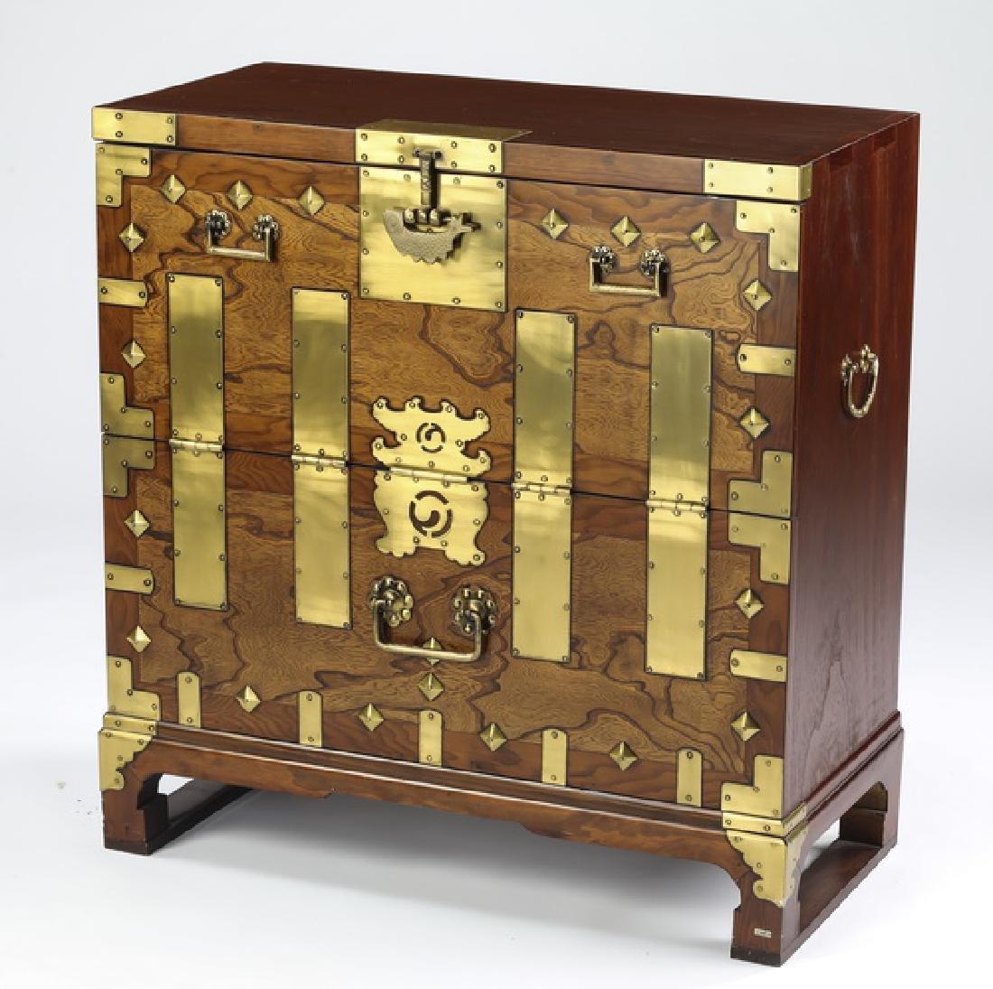 Korean Bandaji style mahogany chest w/ brass accents