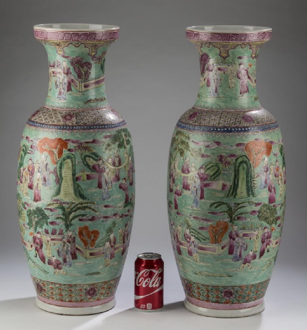 """(2) Chinese famille verte floor vases, 25""""h"""