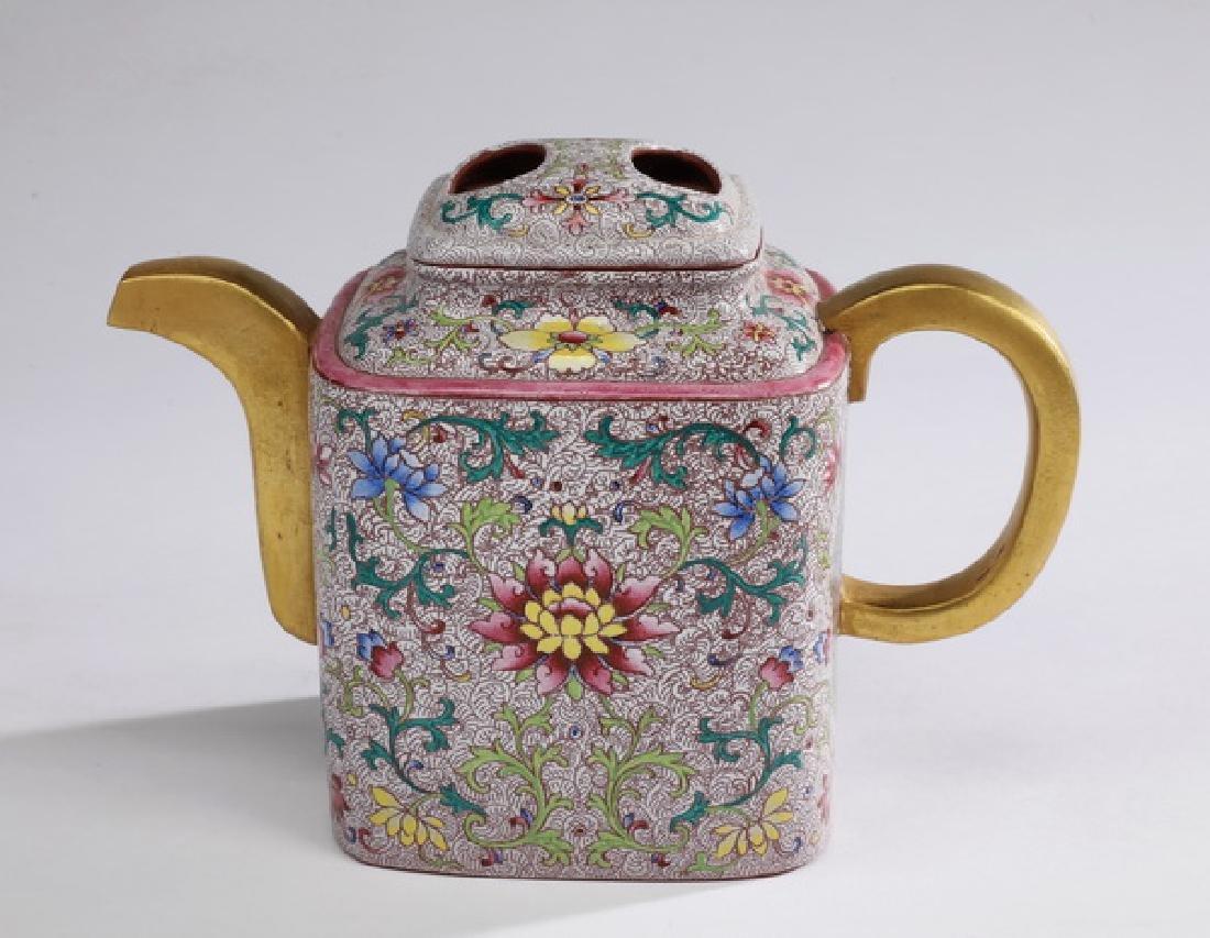 Chinese yixing teapot w/ polychrome enamel