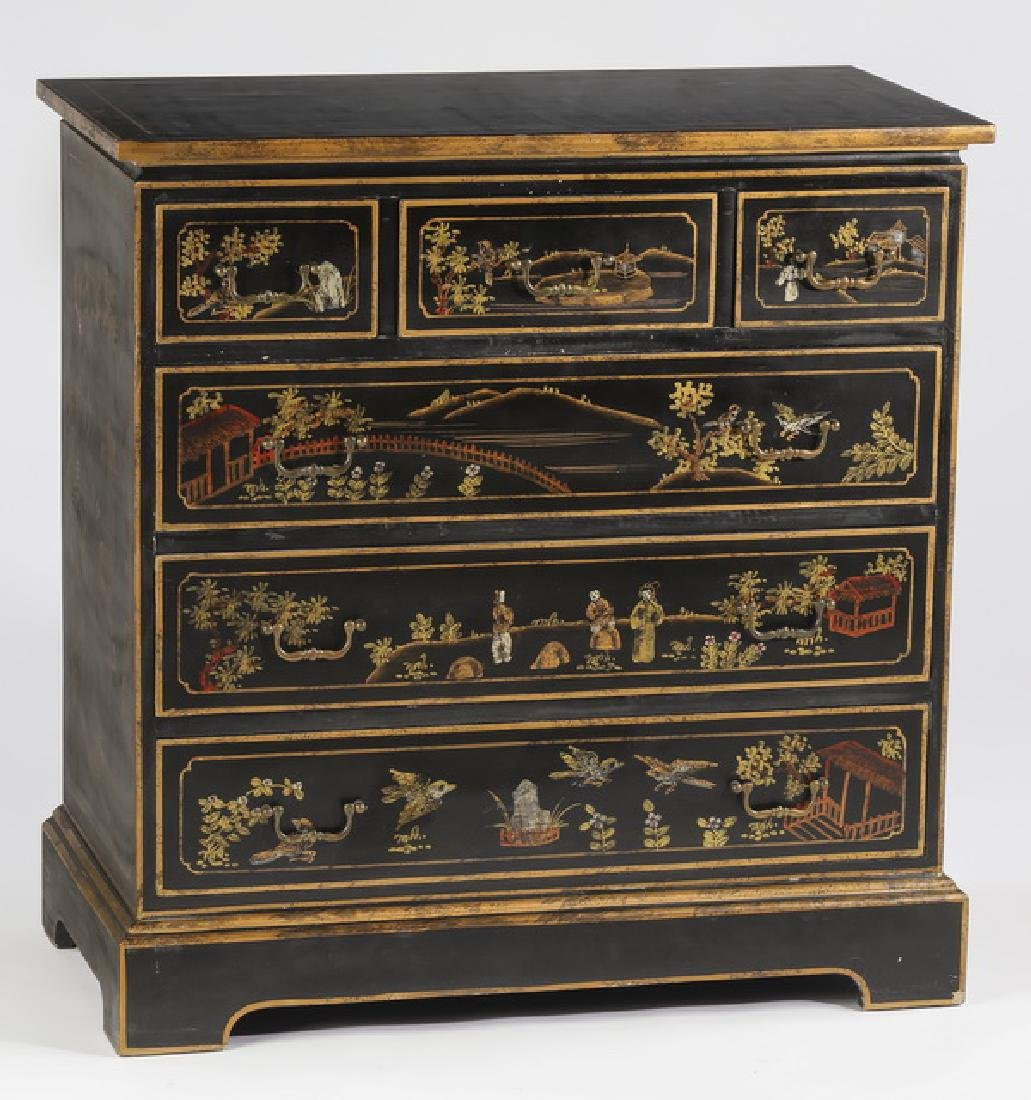 Chinoiserie inspired paint decorated chest