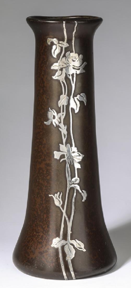 Heintz Arts & Crafts sterling silver on bronze vase
