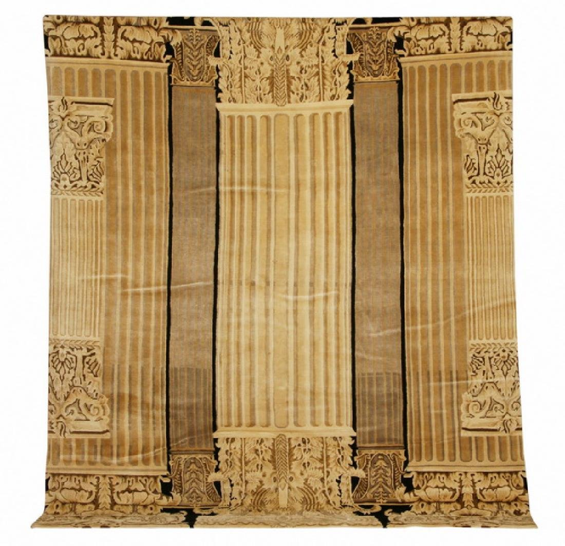 Hand knotted Tibetan wool rug, 9 x 12