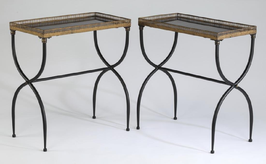 (2) Directoire style marble top side tables