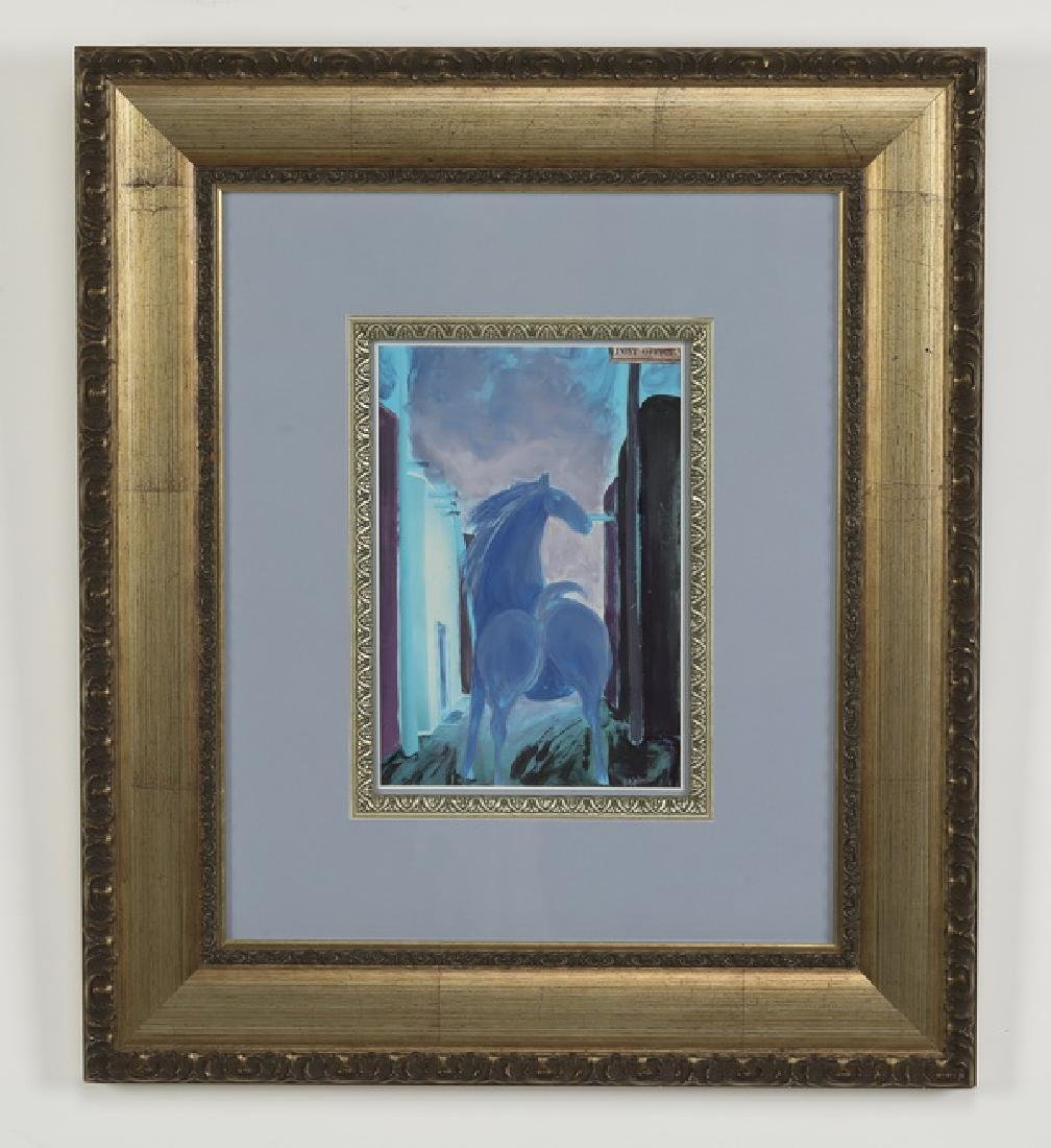 Contemporary oil/card of blue horse on street, signed