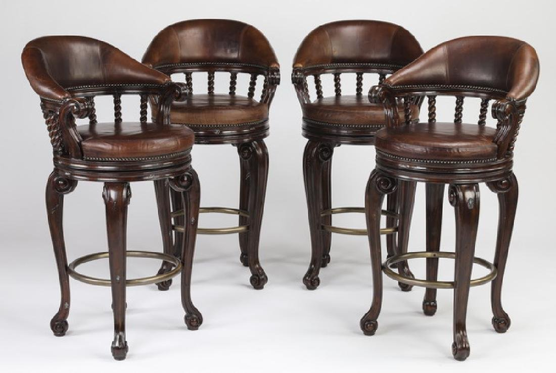 (4) Maitland Smith swivel barstools in leather