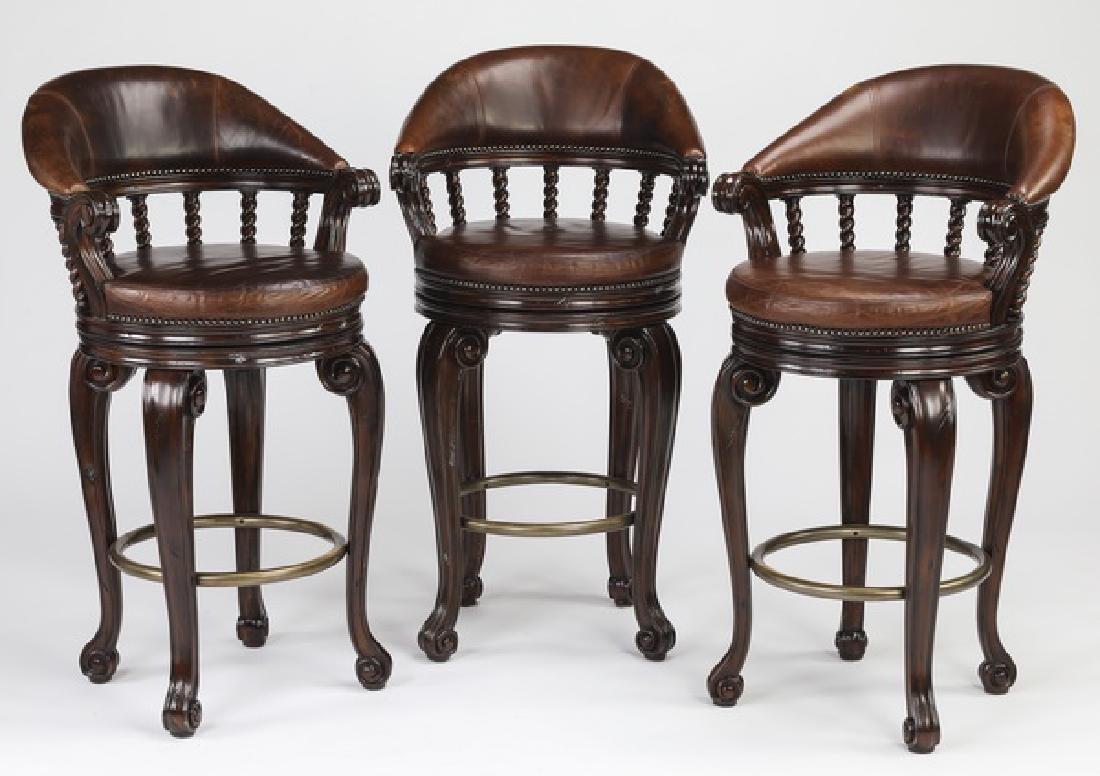 (3) Maitland Smith swivel barstools in leather