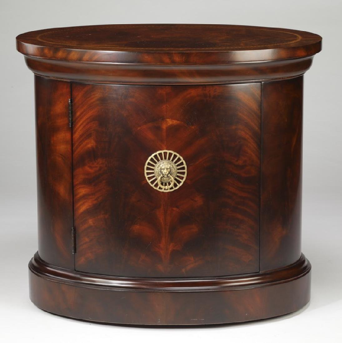 Empire style burl and parquetry inlay side table