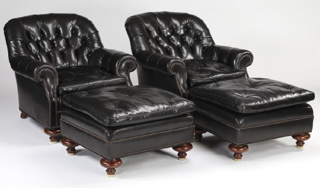 (4) Baker black leather club chairs & ottomans