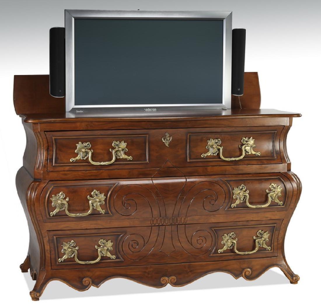 """Mahogany bombe television lift cabinet, 40""""h"""