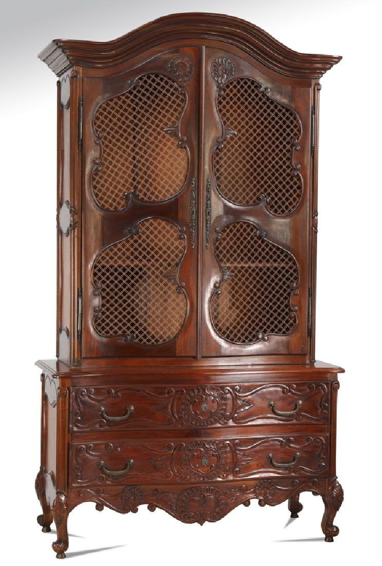"""French Provincial style mahogany cabinet, 94""""h"""