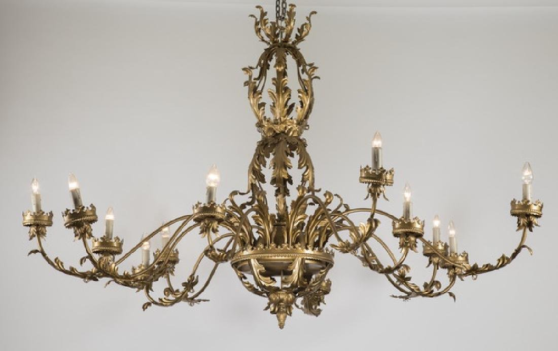 "19th c. 12-arm French tole chandelier, 77""w"