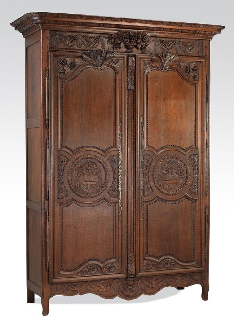 "19th c. French Lyonnais oak wedding armoire, 90""h"