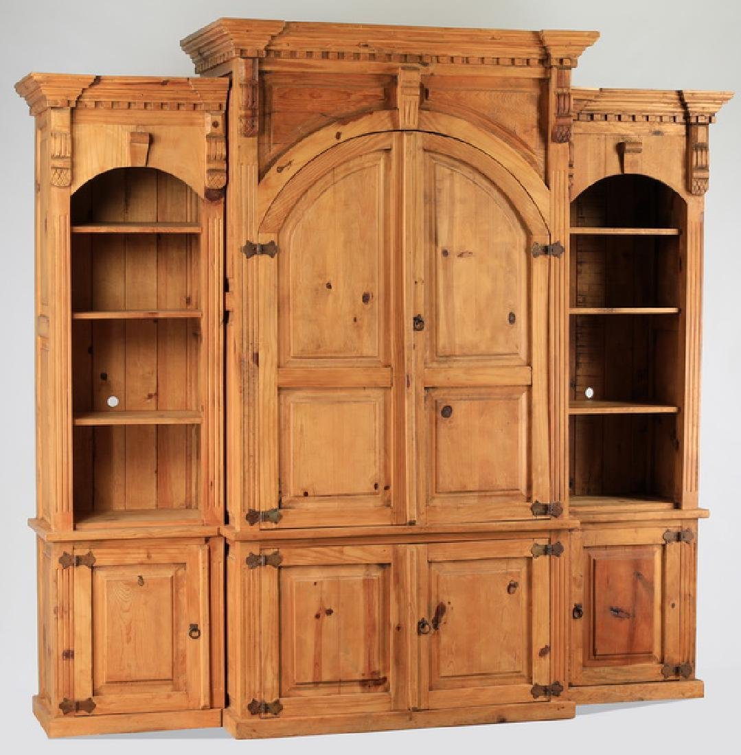 Monumental pinewood breakfront cabinet w/ bookcases