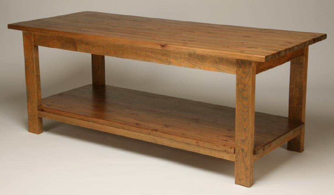"English pine table with distressed finish, 78""l"