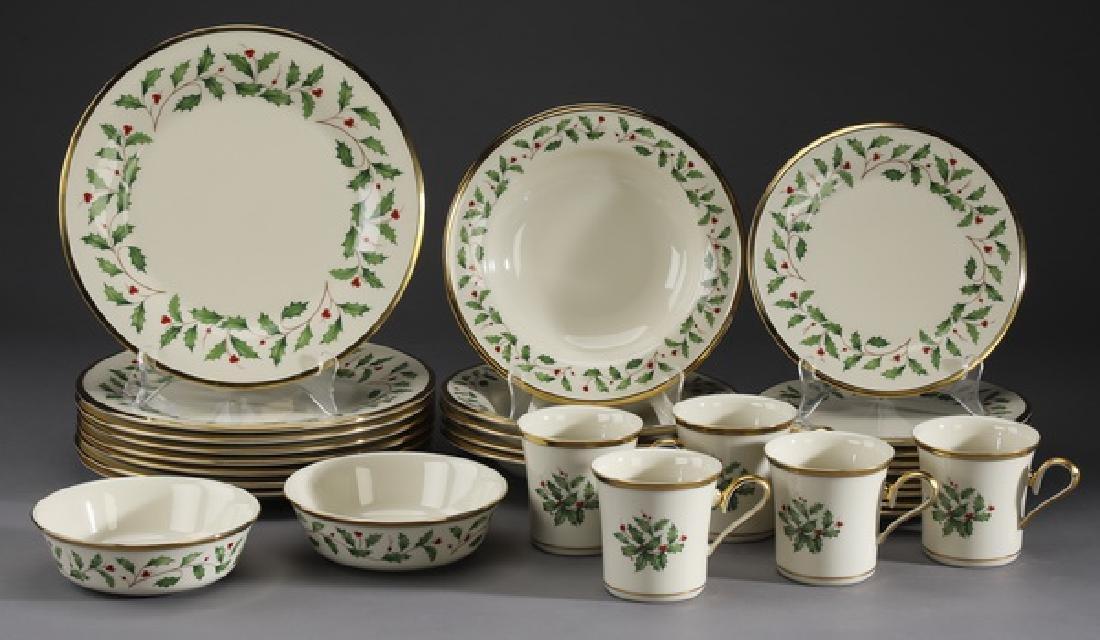 29 Pc. Lenox porcelain 'Holiday' partial service