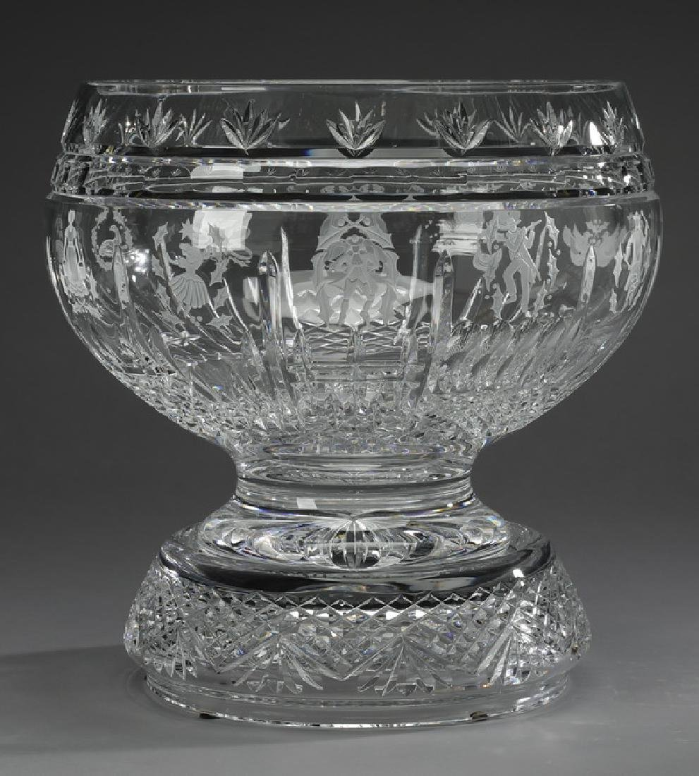 Waterford crystal artist signed punch bowl & stand