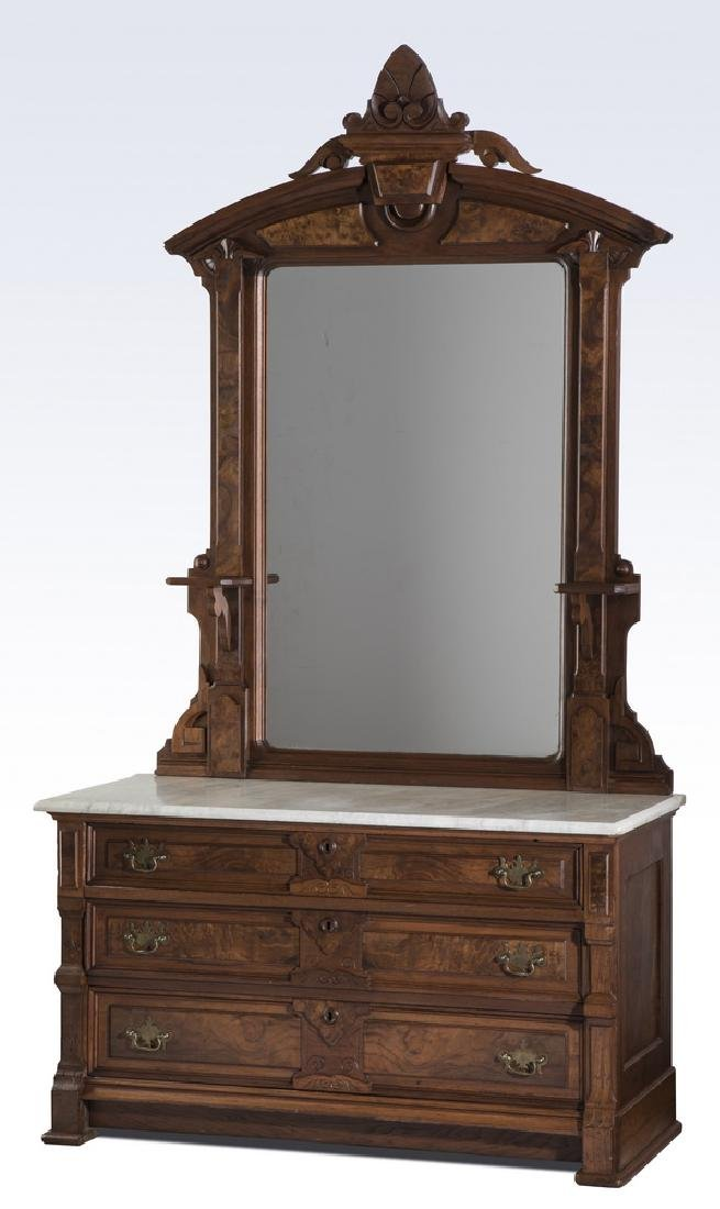 """19th c. American marble top chest with mirror, 84""""h"""