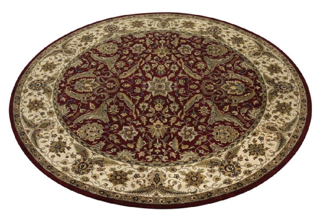 Round hand knotted wool Indo-Oushak rug, 12' dia