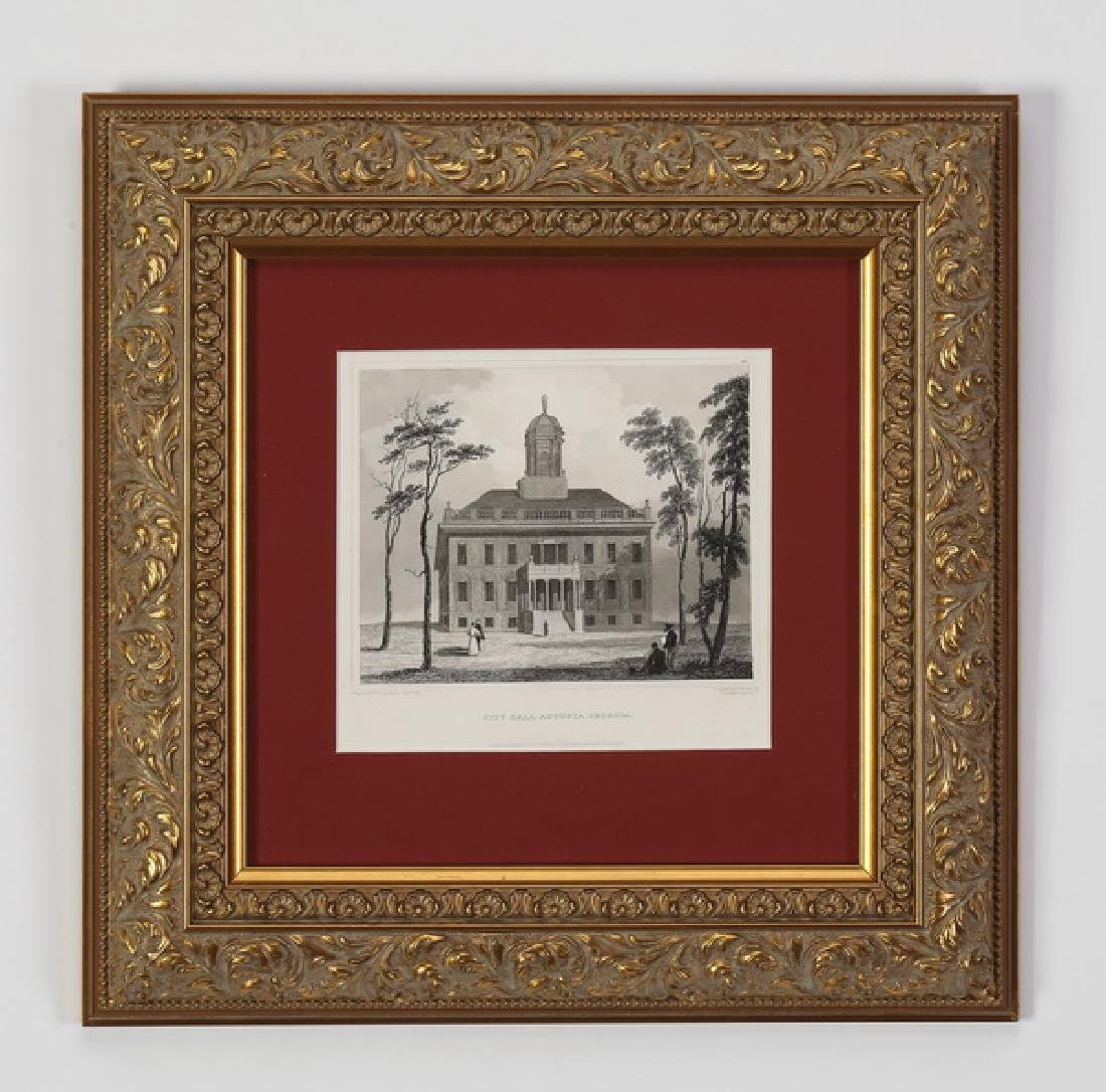 19th c. steel engraving of City Hall, Augusta, GA