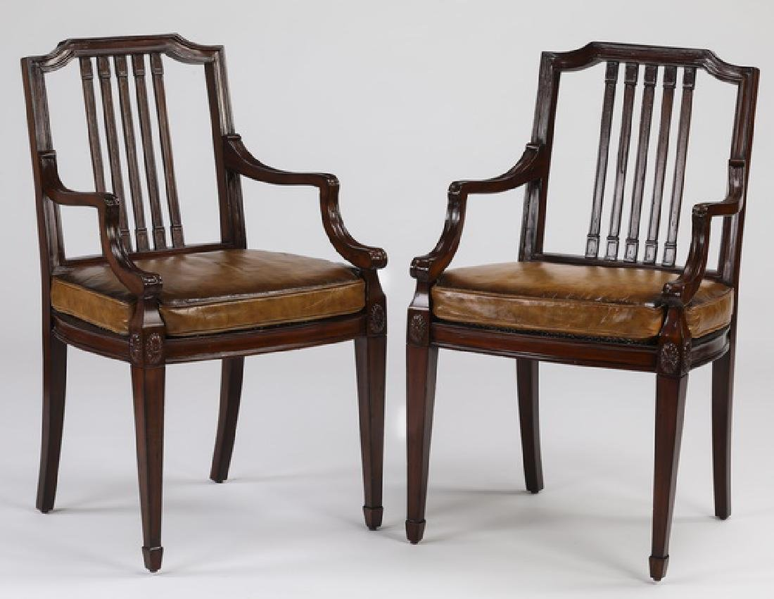 (2) Maitland Smith mahogany armchairs w/ leather
