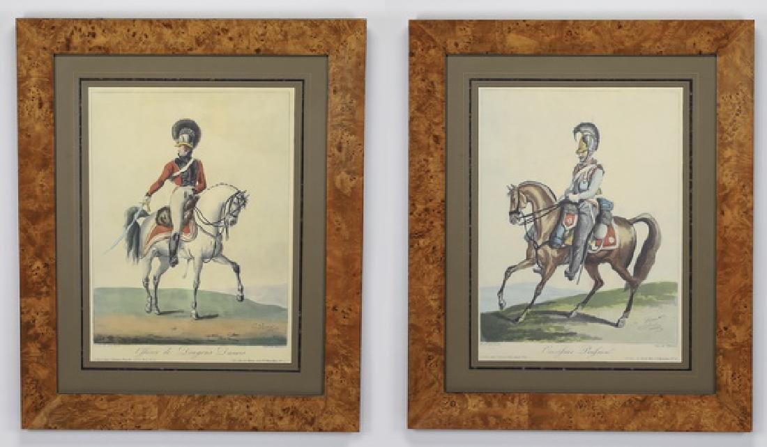 (2) 19th c. French aquatints of military officers