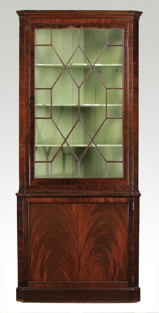 18th c. Regency style mahogany corner cabinet