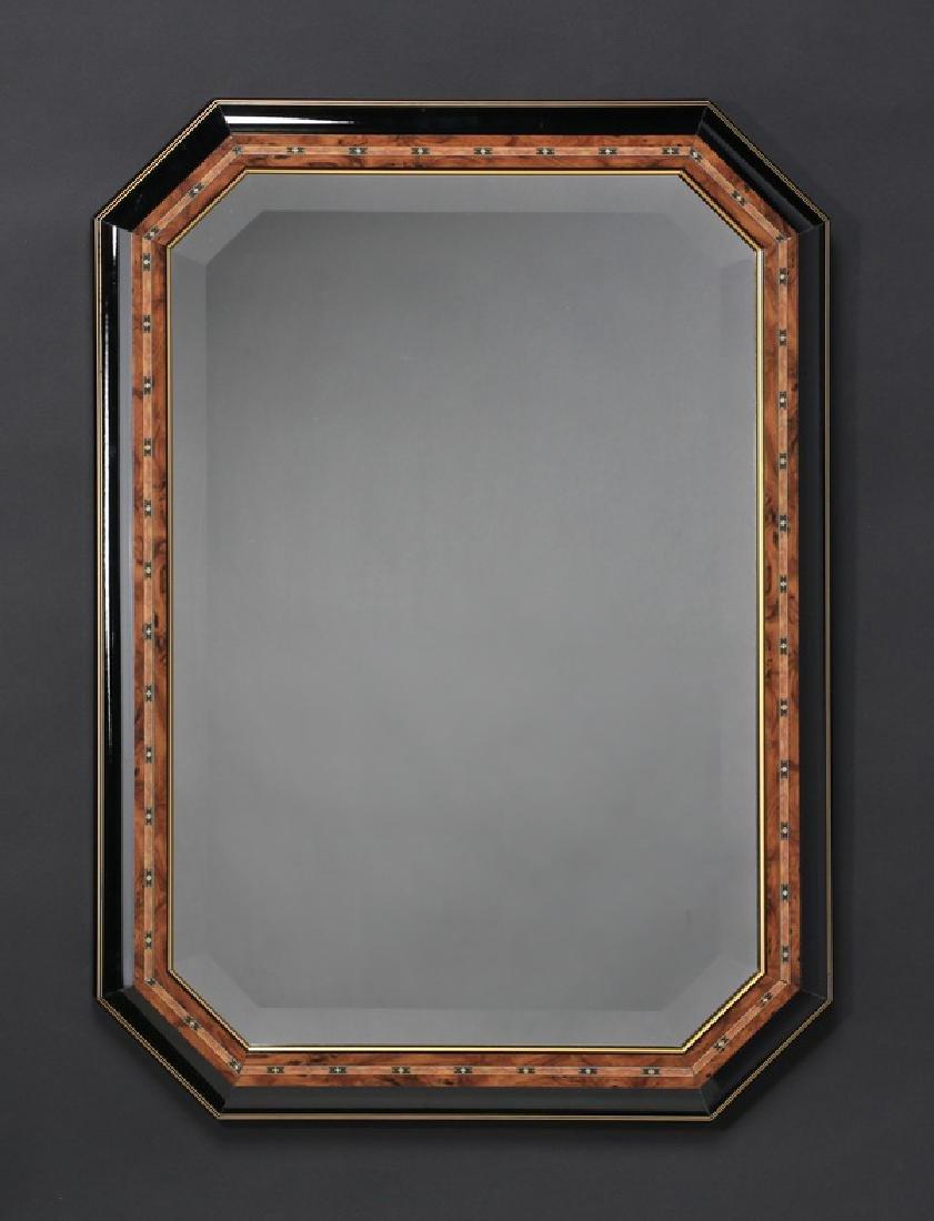 Italian beveled mirror w/ ebonized frame