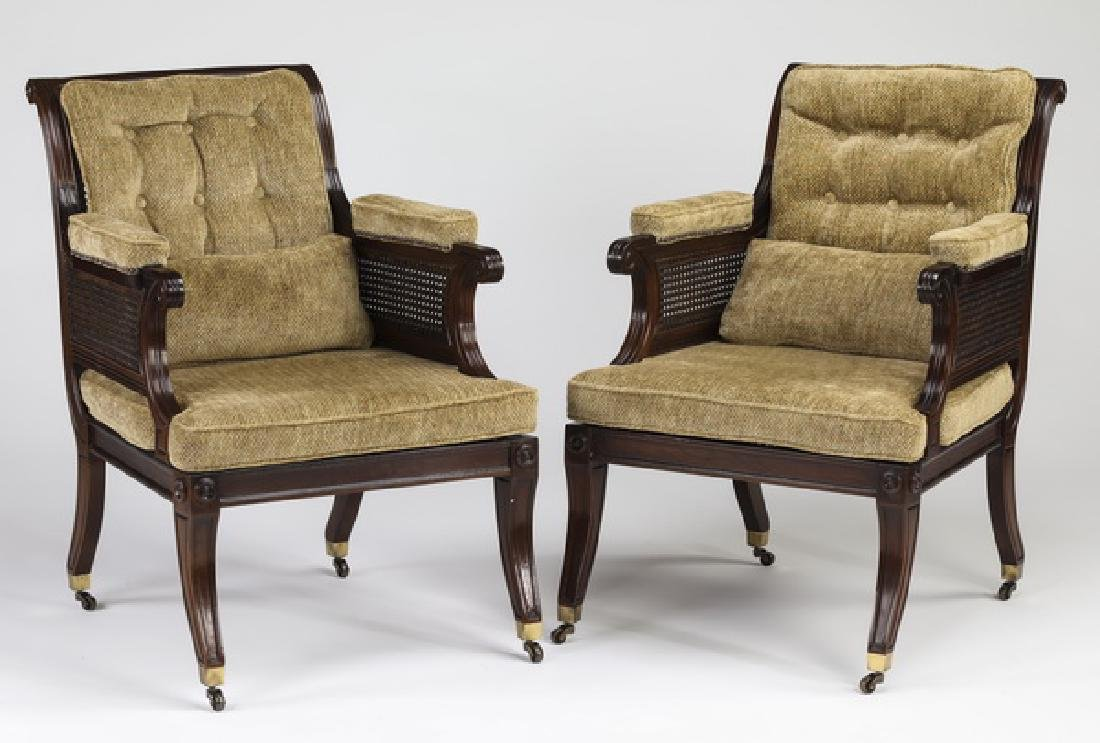 (2) Baker hardwood and woven cane library chairs