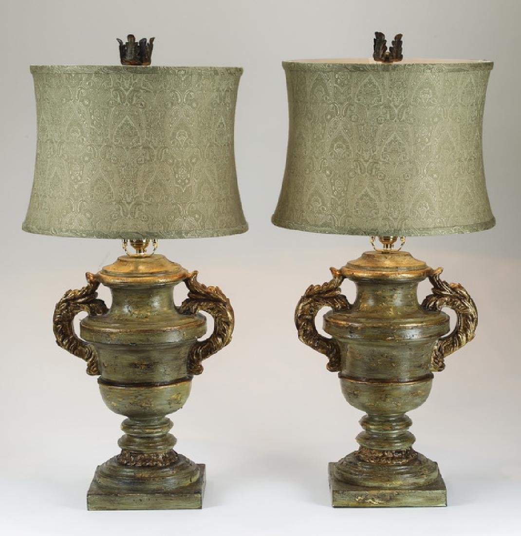 (2) Paint decorated table lamps w/ damask shades