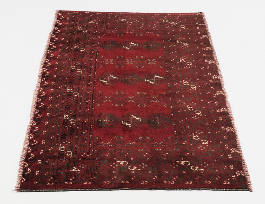Hand knotted Turkmen wool rug, 3 x 6
