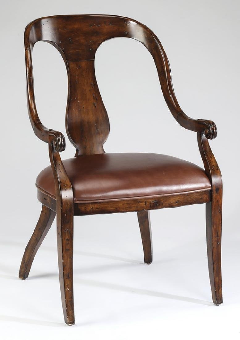 Empire style mahogany armchair w/ leather seat