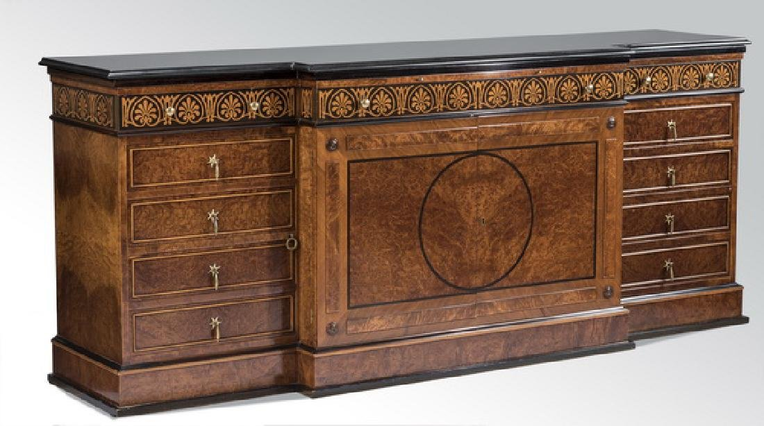 "Italian marquetry inlaid granite top buffet, 85""w"