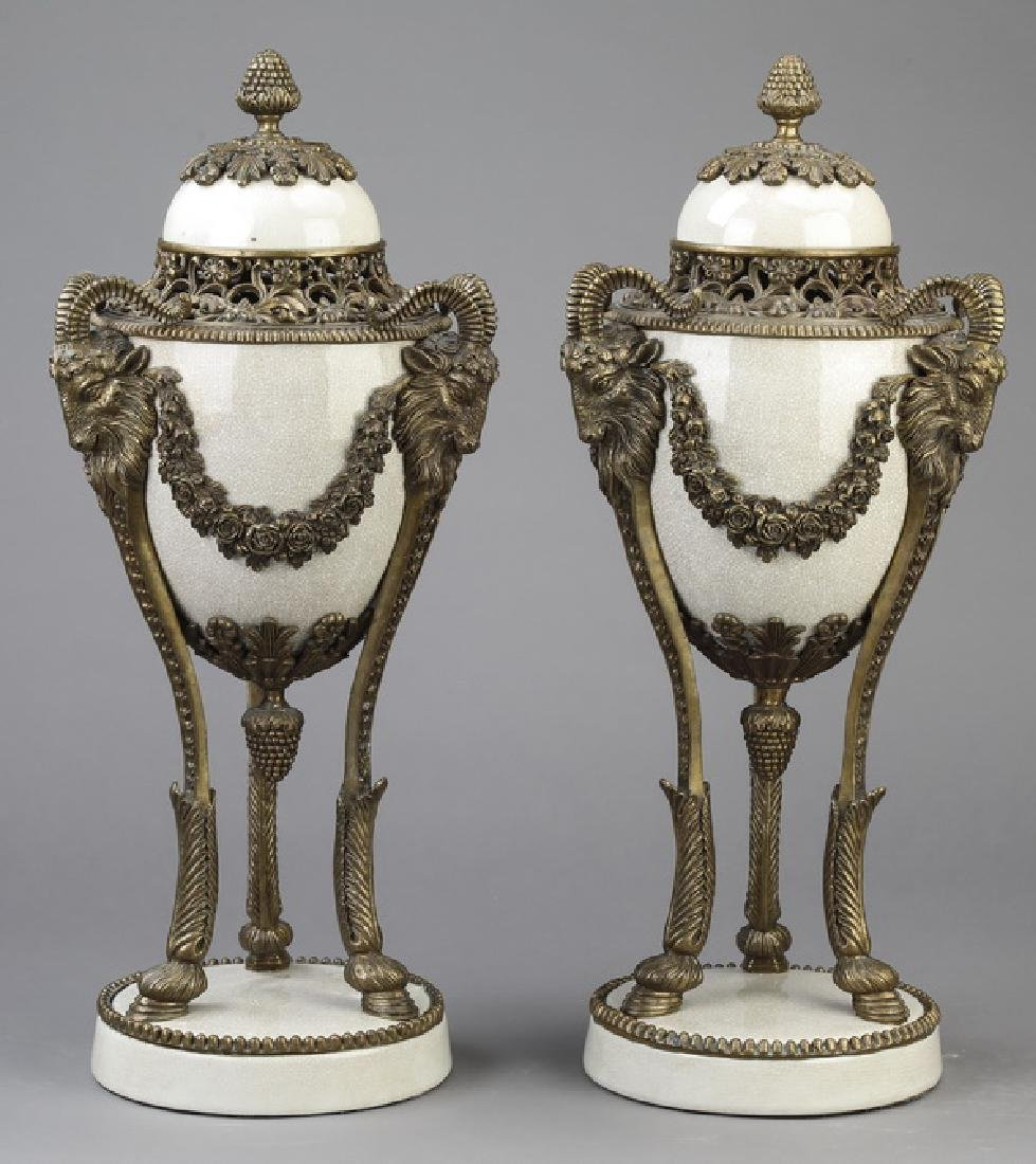 (2) Bronze & porcelain Empire style lidded urns