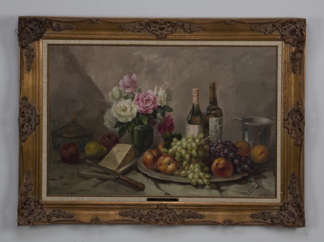 A. Karafyllakis O/c still life of roses, fruit & wine