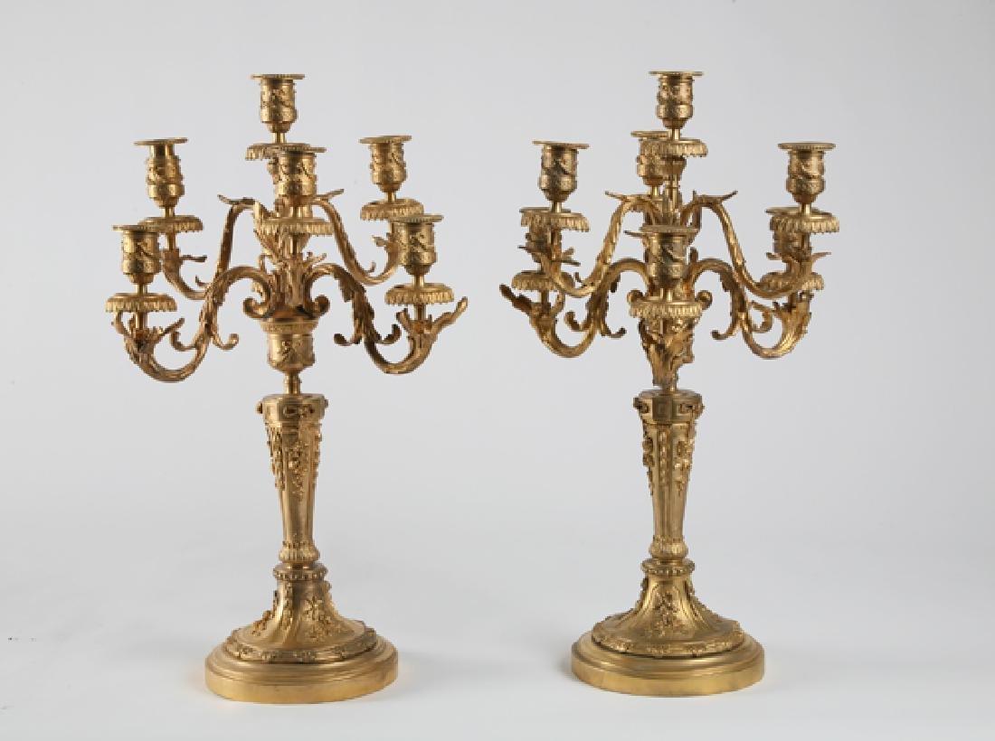 (2) Louis XV-style dore' bronze 7-light candelabra