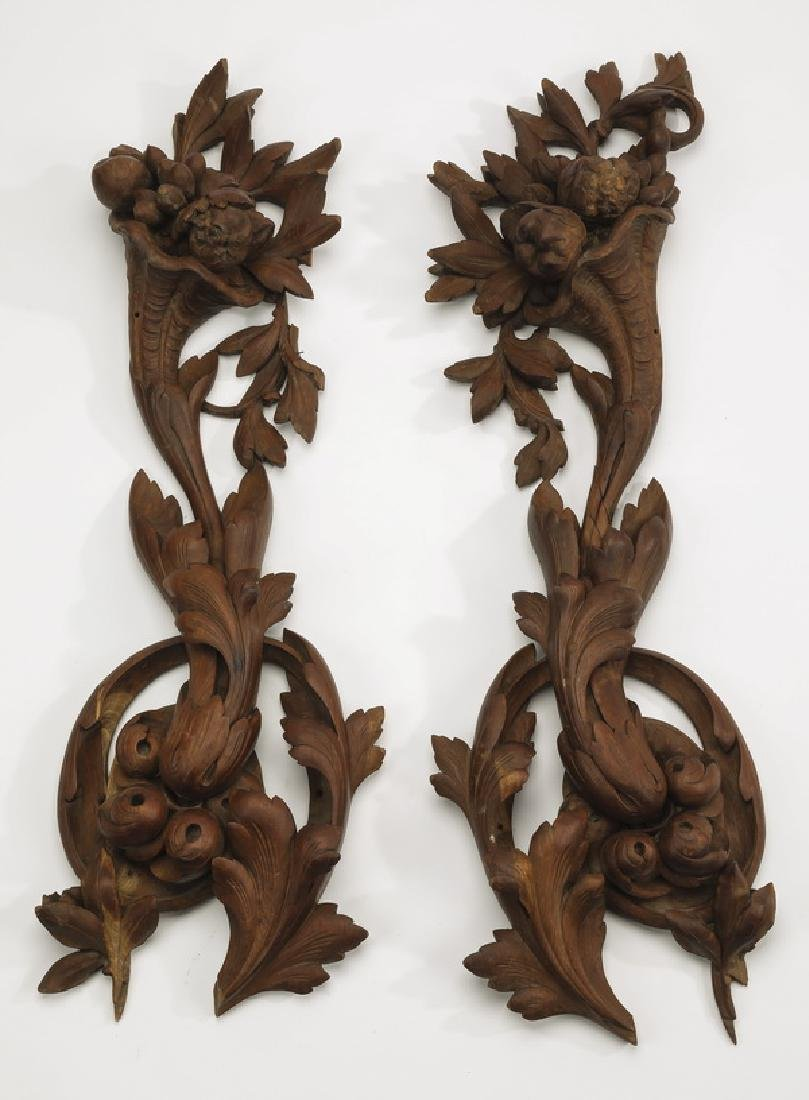 """(2) 19th c. pierce carved architectural panels. 31""""h"""