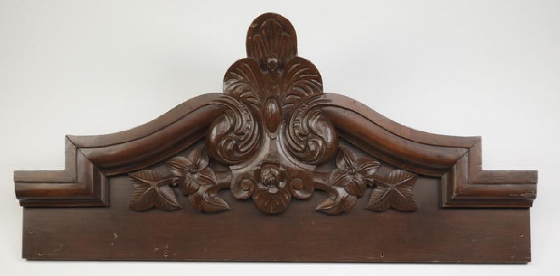 "Early 20th c. carved architectural element, 56""w"