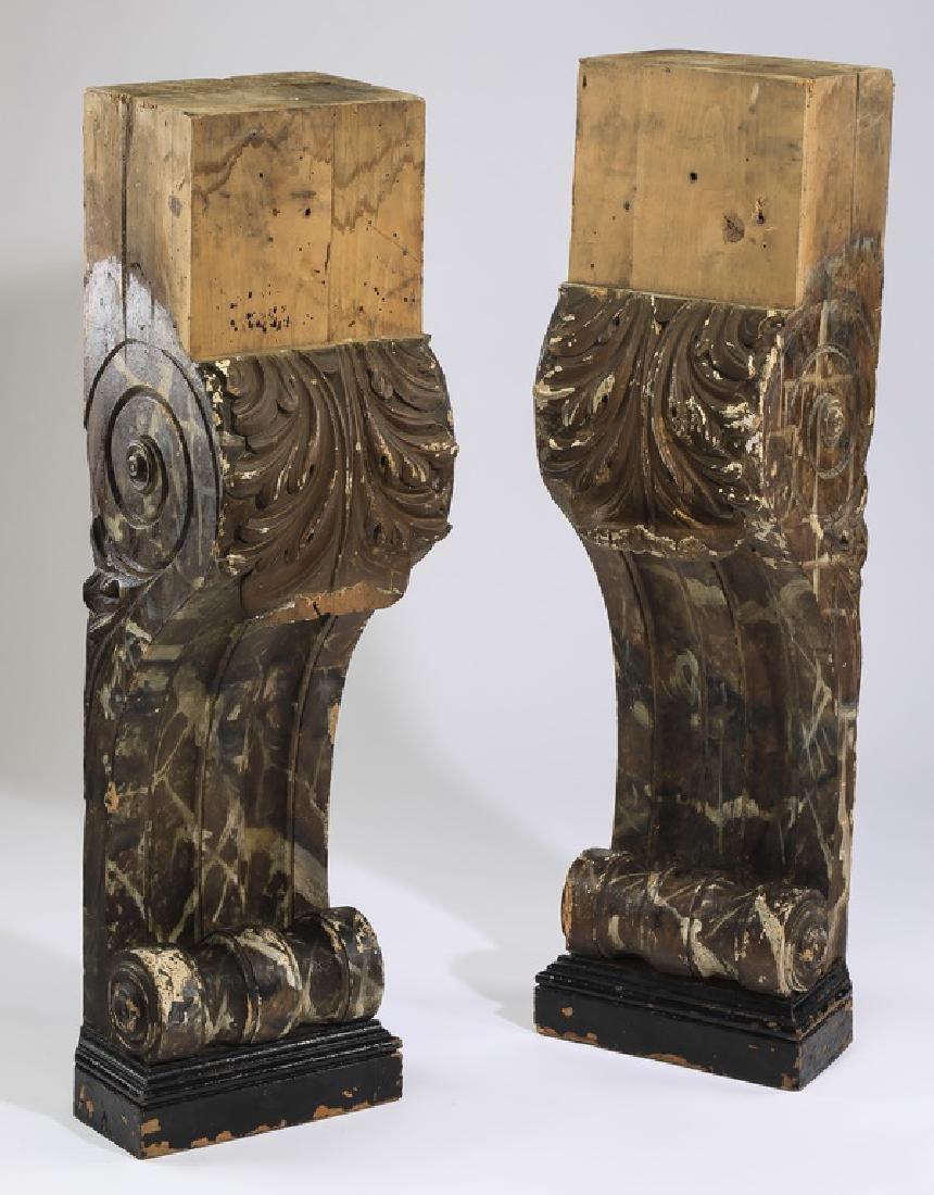 (2) Carved acanthus brackets w/ faux marble finish