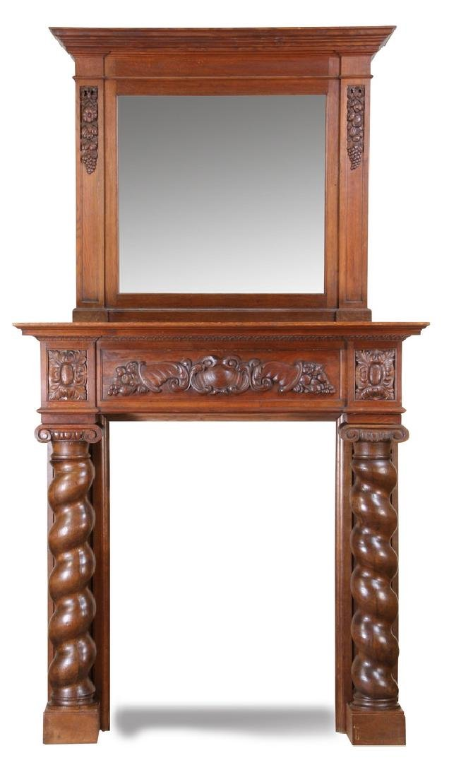"Monumental 19th c. oak mantel, 130""h"