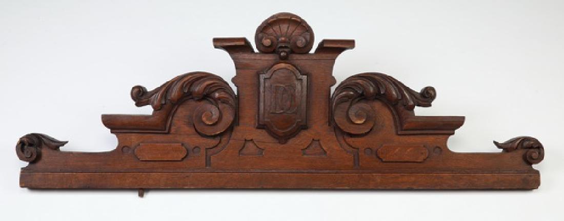 19th c. monogrammed architectural pediment