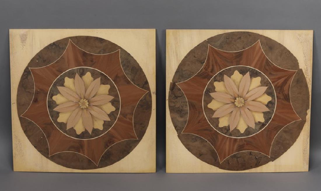 (2) Italian marquetry inlaid floral rondels