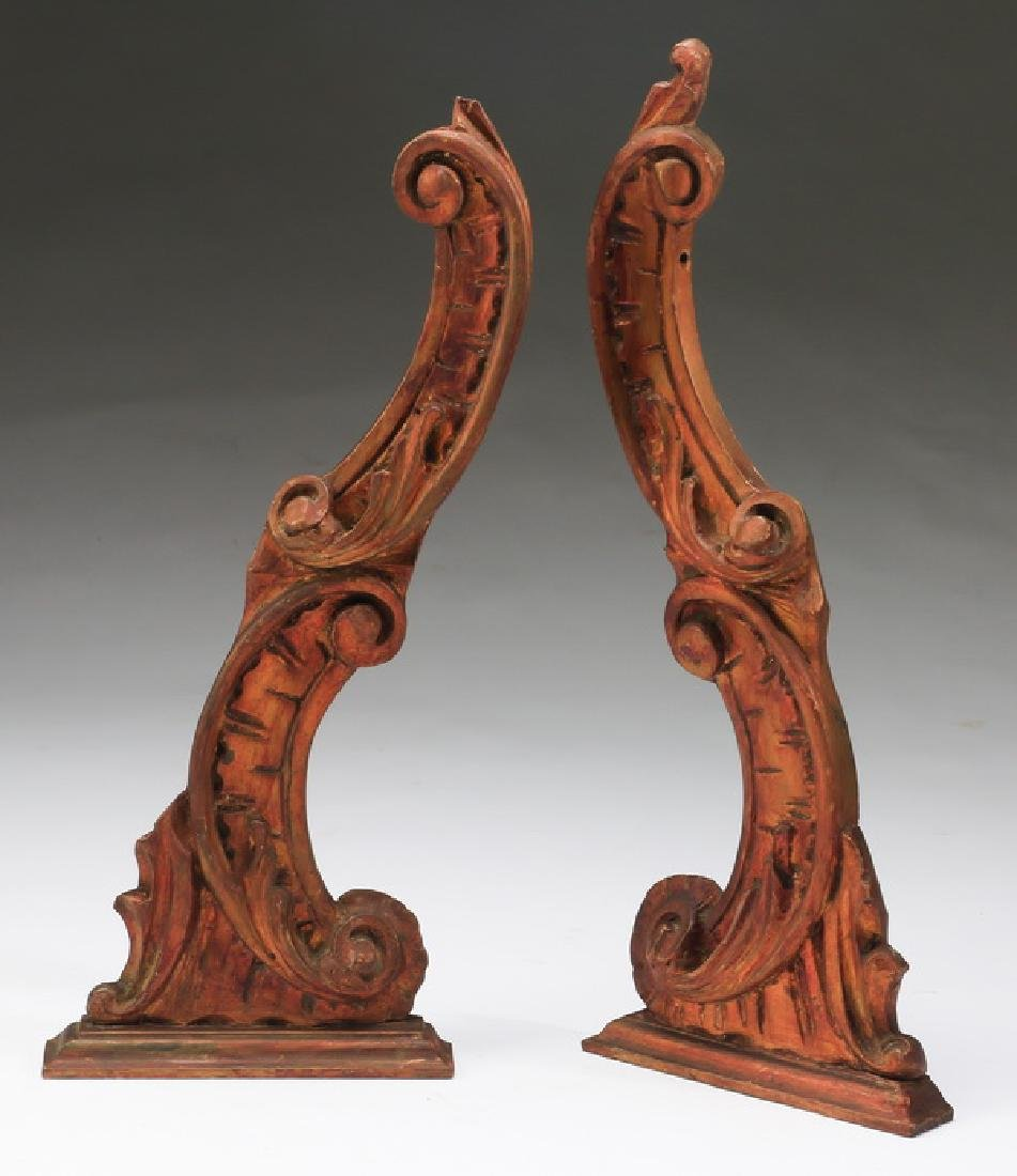 "(2) 19th c. Rococo style carved brackets, 21""h"