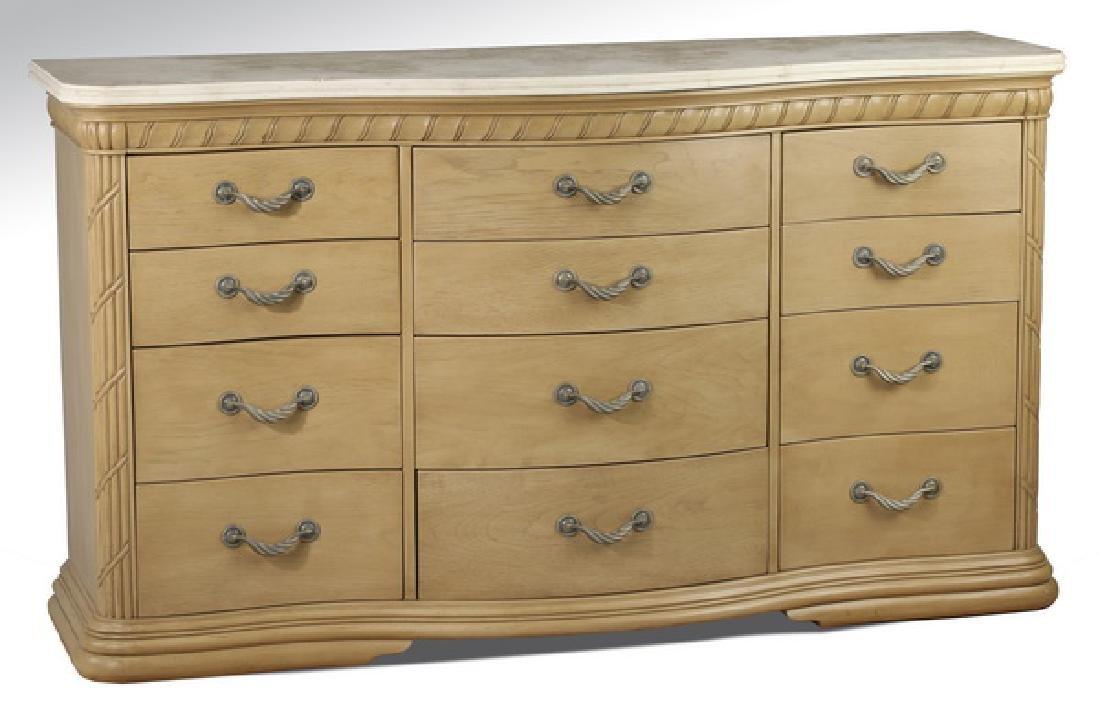 Contemporary light mahogany dresser w/ marble top