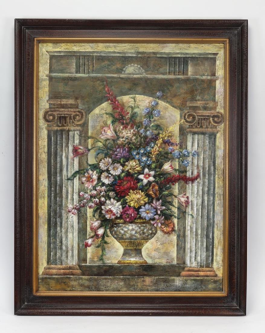 20th c. signed O/c of flowers in Neoclassical niche