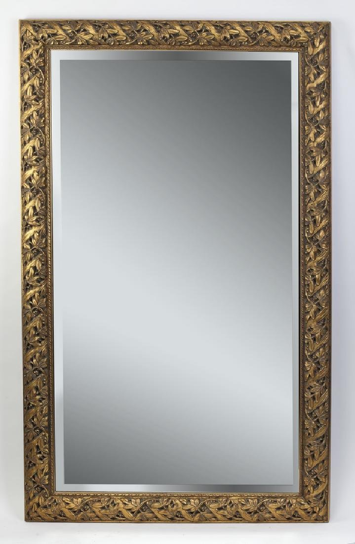 "Contemporary gilded rectangular beveled mirror, 61""h"