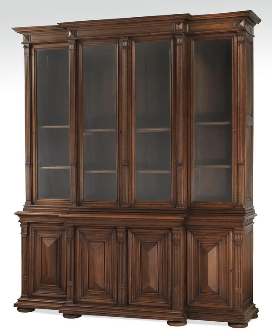 19th c. French walnut Neoclassical style bookcase